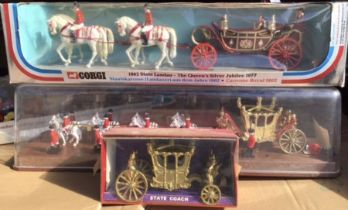 Diecast: A collection of Royal Coaches to include Corgi, Crescent, Britain's. Some playwear and