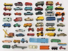 Matchbox: A collection of assorted loose, playworn Matchbox Lesney vehicles, together with a Dublo