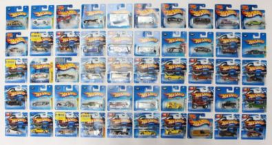 Hot Wheels: A collection of 50 modern Hot Wheels short carded vehicles including: First Editions
