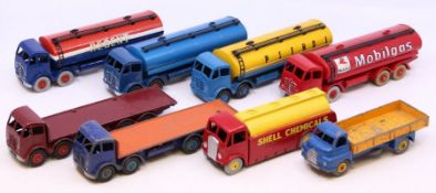 Dinky: A collection of eight assorted playworn Dinky vehicles to include: Shell Chemicals, Regent,