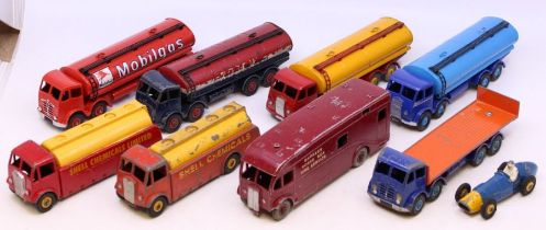 Dinky: A collection of nine assorted playworn Dinky vehicles to include: Regent, Mobilgas and