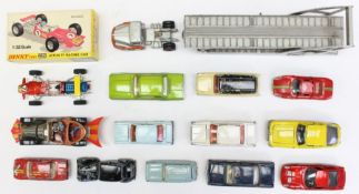 Dinky: A collection of assorted unboxed Dinky playworn vehicles, together with a boxed Dinky Lotus