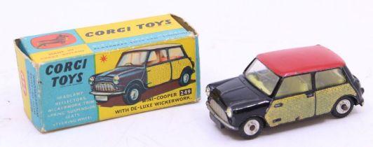 Corgi: A boxed Corgi Toys, Mini-Cooper with Deluxe Wickerwork, 249, vehicle has playwear, box is