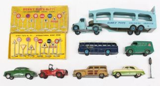 Dinky: A collection of assorted playworn Dinky Toys vehicles to include: Ford Zephyr, Trojan Chivers