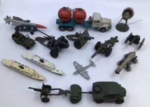 Diecast: A collection of assorted diecast vehicles to include Dinky and Britains military. Please