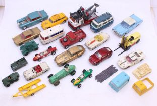 Corgi: A collection of assorted playworn, diecast Corgi vehicles, mostly vintage, approx. 15