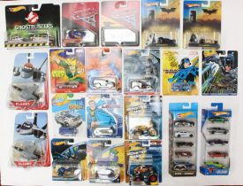 Hot Wheels: A collection of assorted Hot Wheels carded vehicles to include: Marvel, DC, Disney,