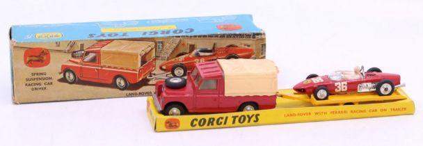 Corgi: A boxed Corgi Toys Gift Set No. 17, Land Rover with Ferrari Racing Car on Trailer, vehicle