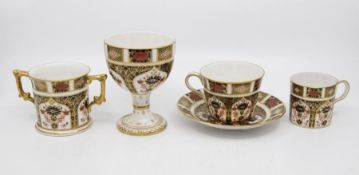 Royal Crown Derby 1128 Imari loving cup, coffee can, goblet cup, saucer, all first quality