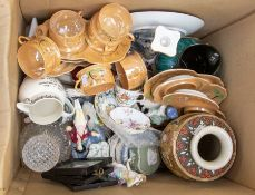 A quantity of mixed items including Spode figures (AF), cups and saucers, Wedgwood, Derby, glass