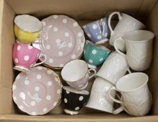 Six Royal Albert Polka Dot Trios (one is AF to cup) along with six Wedgwood Cabbage Leaf mugs