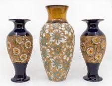 Royal Doulton Lambeth vase along with pair of dark blue ground Lambeth vases, no chips or cracks
