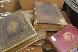 Collection of late 18th and 19th Century bibles, family ones including Victorian scrap book