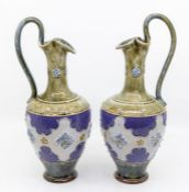Pair of Royal Doulton ewers, green and blue ground, early 20th Century, no visible chips or cracks