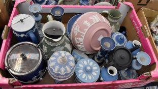 A collection of early 20th Century Wedgwood Jasper wares including vases, candlesticks, caddies,