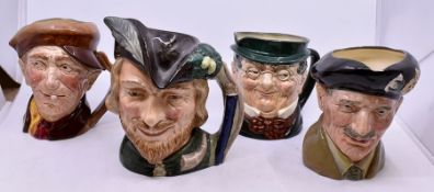 Four Royal Doulton Character Mugs with Boxes, City Gent, Robin Hood, Addy and Montgomery