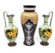 Royal Doulton early 20th Century vase, gilt and blue ground, along with a pair of Royal DOulton