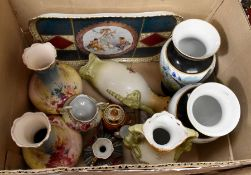 Collection of early 20th Century porcelain vases, serving tray, continental Duesbury Imari Derby