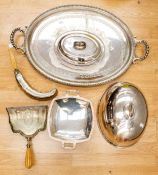 A collection of silver plate, EP and EPNS to include: Victorian profusely engraved crumb scoop (