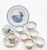 Collection of 18th Century tea bowls, Chinese plate, cups and saucers and slop bowl