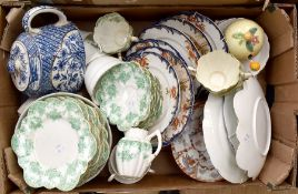 Early 19th Century tea pot, blue & white along with late Victorian green and white tea set, early