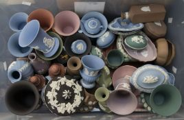 Collection of multi-coloured Wedgwood jasperwares including rose vases, dishes, vases, salt and