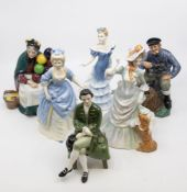 A collection of six Royal Doulton figures including The Old Balloon Seller and the Lobster man