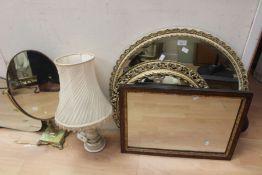 Three 20th Century wall mirrors, onyx table mirror, and Italian lamp