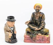 Royal Doulton Mendicant figure together with a Winston Churchill Royal Doulton Toby jug (2) both