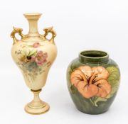 Royal Worcester blush ivory handled vase and a Moorcroft Pottery ginger jar, no lid, in Hibiscus