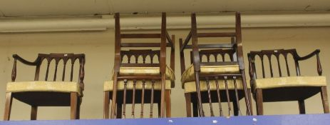 A set of six Victorian mahogany Regency style chairs, drip in seats, turned legs (6)