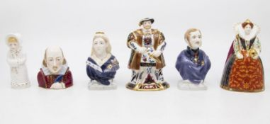 Six Royal Worcester Candle Snuffers with Boxes., three with Certificates. Henry VIII, Prince