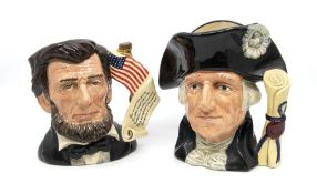 Four Royal Doulton Character Jugs with Boxes: Granny, George Washington, Abraham Lincoln and Dick
