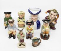 Four small Royal Doulton character jugs i.e. Leprechaun with certificate, Happy John the Clown,