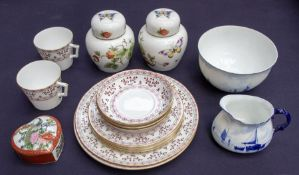 Royal Crown Derby Brittany cups, saucers, plates, along with Derby bowl and cream jug a.f. and two