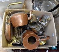 Collection of brass and copperwares including warming pan, miner lamp, kettles, candle sticks, jugs,