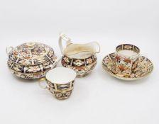 19th century Bloor Derby sugar bowl, a Duesbury Imari milk jug, a Stevenson and Hancock coffee