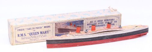 Chad Valley: A boxed 'Take to Pieces' model of RMS Queen Mary, original box, Chad Valley, appears