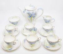 A Shelley 'Blue Iris' six piece circa 1930's tea set with teapot, sugar and cream In good condition