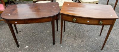 A pair of late Georgian hall tables, one mahogany and rose mahogany; both on tapered legs, one with