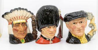 Three Royal Doulton character jugs, i.e. North American Indian, The Guardsman, and Pearly King