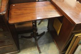 Mahogany rectangular topped Victorian Table on turned column and tripod support