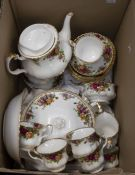 Royal Albert Country Rose tea set and dinner service for six setting