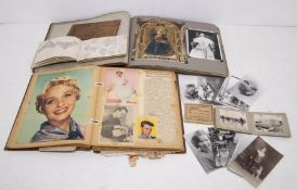 Postcards, scrap books and indentures - a 1950's scrap book of celebrities; an scrap book of Rome