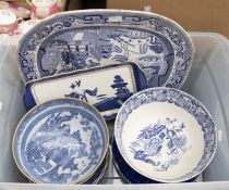 A collection of blue and white - Spode, Royal Doulton, Booths, Masons, Adam Ware (1 box)