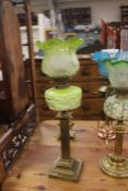 Late Victorian brass column with green larver glass oil lamp with green etched shade