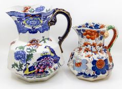 Two Mason's Ironstone water jugs: early 20th century with snake-shaped handles and Crocus detail.