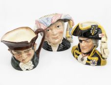 Three Royal Doulton character jugs i.e. Old Charley, Pearly Queen, and Lord Nelsonwith certificate