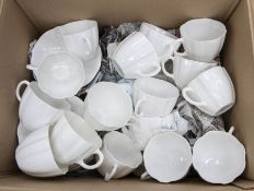 Royal Crown Derby unpainted tea set including 18 cups, 15 small plates, 16 saucers, 2 milk jugs, 2