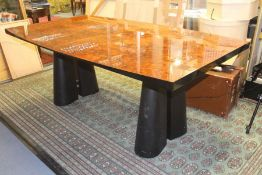 A Contemporary Italian 'Miniforms' burr amboyna veneered and black lacquered twin pedestal dining